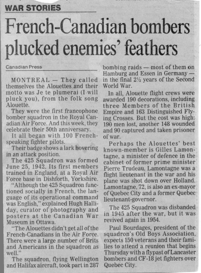 Alouettes newspaper article
